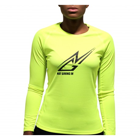 T-shirt sport NGI anti-transpirant jaune fluo logo noir