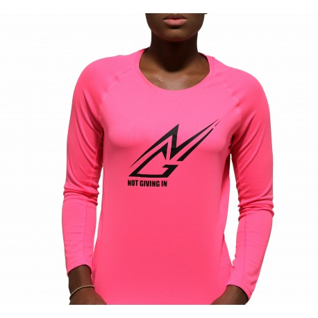 T-shirt sport NGI anti-transpirant rose fluo logo noir