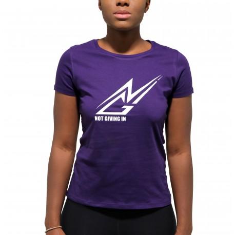 T-shirt coton NGI violet logo blanc