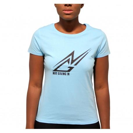 T-shirt coton NGI bleu ciel logo noir