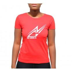 T-shirt coton NGI rouge logo blanc