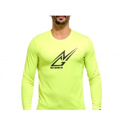 T-shirt sport NOT GIVING IN anti-transpirant jaune fluo logo noir