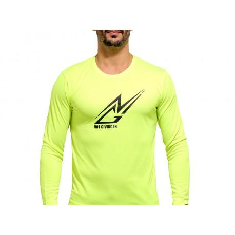 T-shirt sport NOT GIVING IN anti-transpirant jaune fluo logo noir