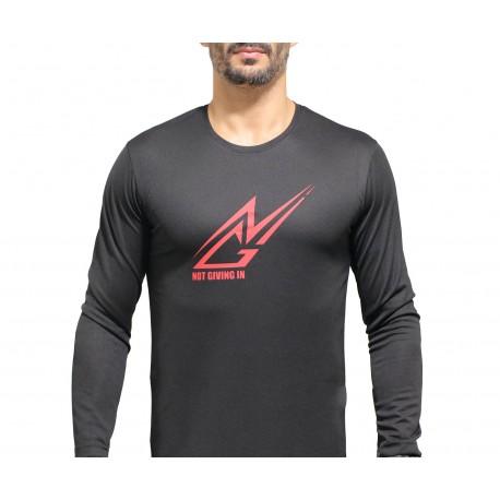 T-shirt sport NGI anti-transpirant noir logo rouge