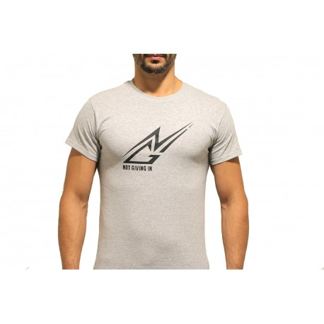 T-shirt coton manche courte NGI gris logo noir