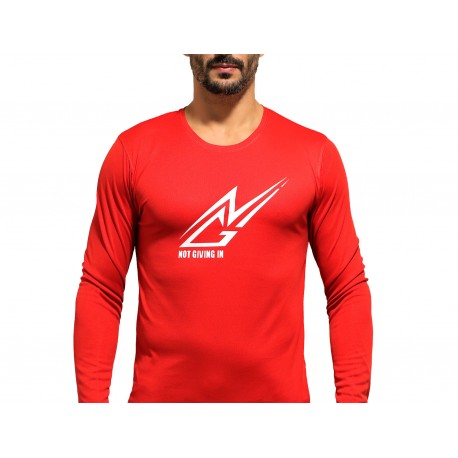T-shirt sport NOT GIVING IN anti-transpirant rouge logo blanc